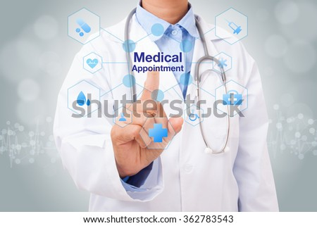 Doctor hand touching medical appointment sign on virtual screen. medical concept - stock photo