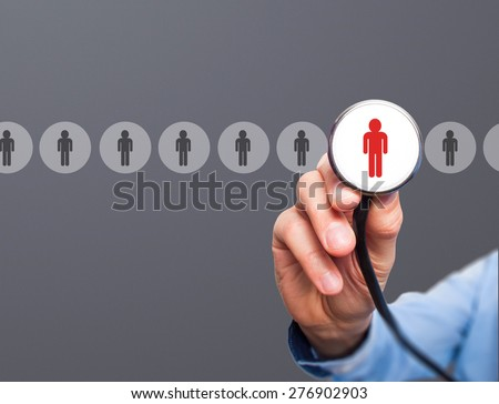 Doctor hiring personnel. Man hand with stethoscope. Business, hr, recruitment concept. Isolated on grey. stock Photo. - stock photo