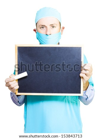 Doctor holding a blackboard and large stick of chalk ready to start teaching and educating you on medical facts and myths in a health education concept isolated on white - stock photo