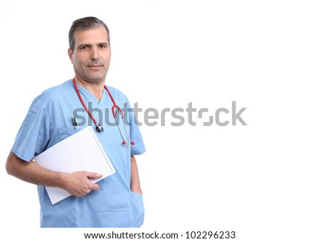 doctor holding a notepad with lines - stock photo