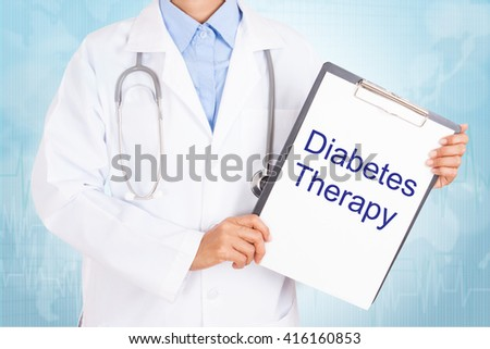 Doctor holding clipboard with diabetes therapy text on a sheet of paper. on white background - stock photo