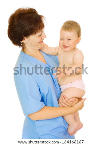 Doctor holding small smiling baby isolated - stock photo