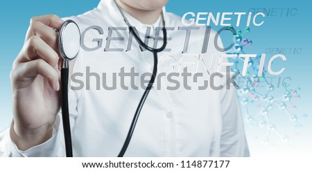 Doctor holds Stethoscope in hand with genetic word as medical concept - stock photo