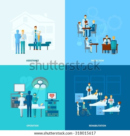 Doctor in hospital design concept set  with assistance operation rehabilitation and operation flat icons isolated  illustration - stock photo