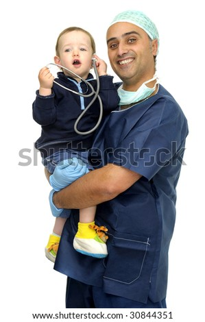 Doctor in uniform with baby and stethoscope isolated in white - stock photo