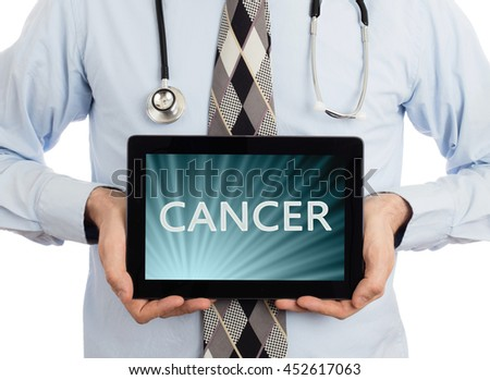 Doctor, isolated on white backgroun,  holding digital tablet - Cancer - stock photo