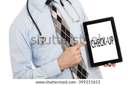 Doctor, isolated on white backgroun,  holding digital tablet - Check-up - stock photo