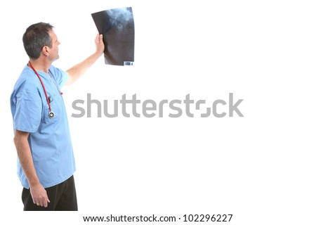 doctor looking at a xray in a white background - stock photo