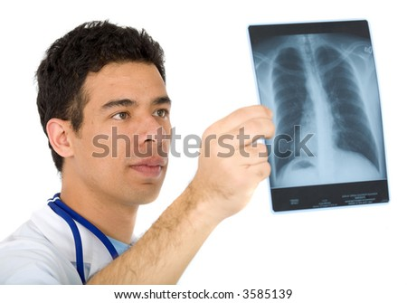 doctor looking at an xray of the thorax - isolated over a white background - stock photo