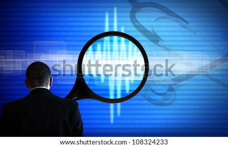 Doctor  looking for new technology medicine abstract background blue with magnifier and stethoscope - stock photo