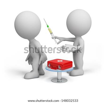 Doctor makes the patient an injection. 3D image. White background. - stock photo