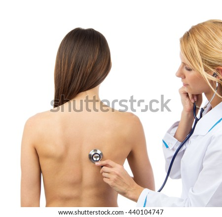 Doctor nurse auscultating patient problem spine with medical stethoscope physical therapy isolated on a white background - stock photo