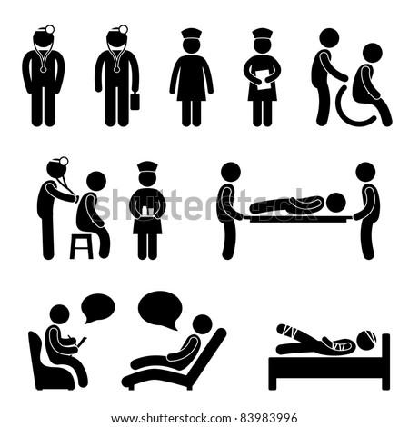 Doctor Nurse Hospital Medical Psychiatrist Patient Sick Icon Sign Symbol Pictogram - stock photo