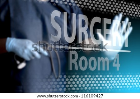 Doctor opening the surgery room door - stock photo