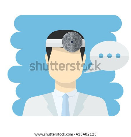 Doctor ophthalmologist . medical worker icon male Doctor avatar in uniform ,in flat style with a color speech bubbles conceptual health care.Ophthalmologist Dr.Doctor icon flat style - stock photo