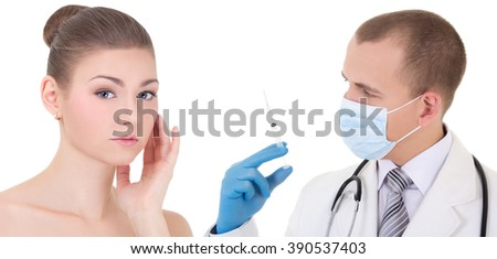 doctor or beautitian in mask and blue gloves with syringe and woman patient isolated on white background - stock photo