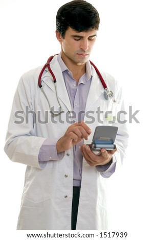 Doctor or healthcare worker using portable hard drive to access medical software. - stock photo