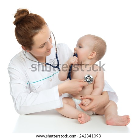 Doctor or nurse auscultating child baby patient heart with stethoscope physical therapy closeup composition on a white background - stock photo