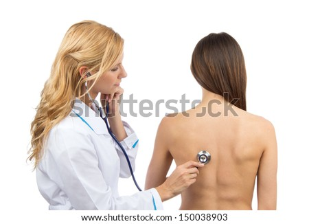 Doctor or nurse auscultating patient spine with stethoscope physical therapy closeup composition on a white background - stock photo