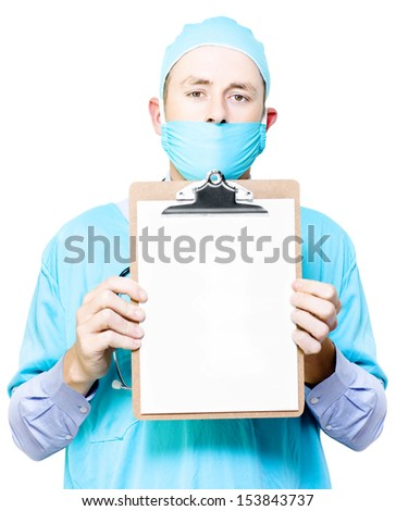 Doctor or physician holding a clipboard with a blank sheet of white paper for your annotations or medical checklist isolated on white - stock photo