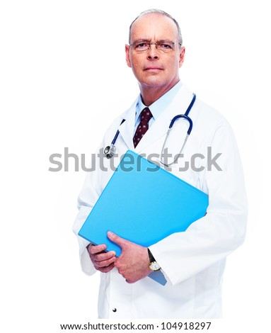 Doctor physician with folder. Isolated over white background. - stock photo