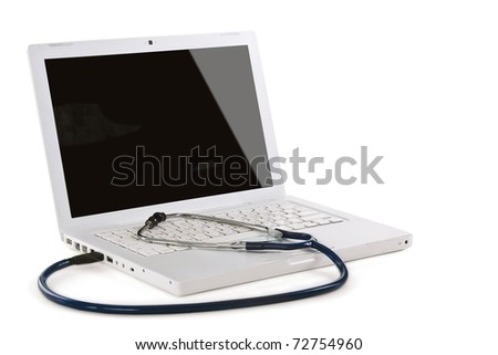 Doctor's computer. USB connection - stock photo