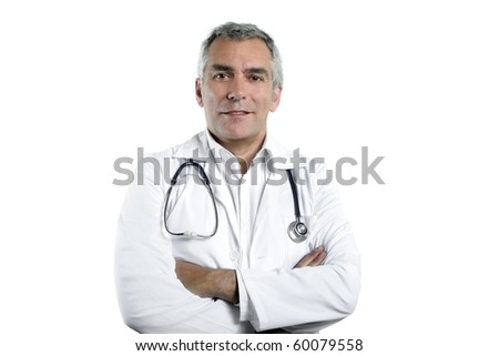 doctor senior expertise gray hair confident on white - stock photo