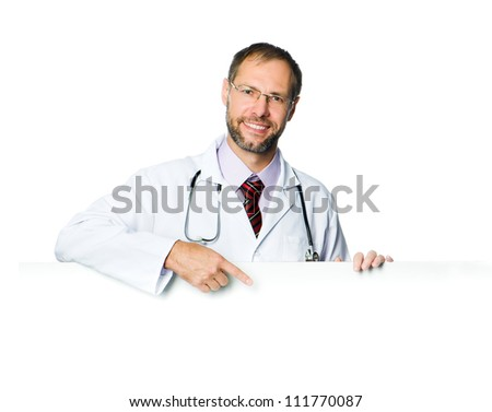doctor showing clipboard over white background - stock photo