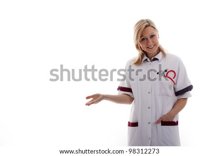 doctor shows in empty space - stock photo