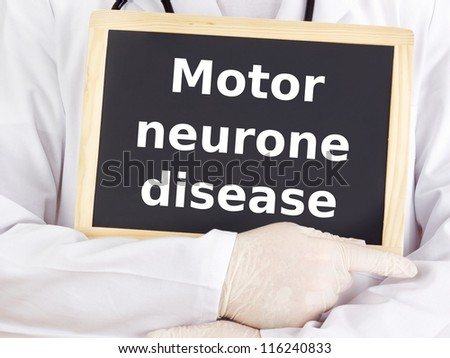 Doctor shows information: motor neurone disease - stock photo