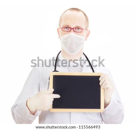 Doctor shows information on blackboard - stock photo