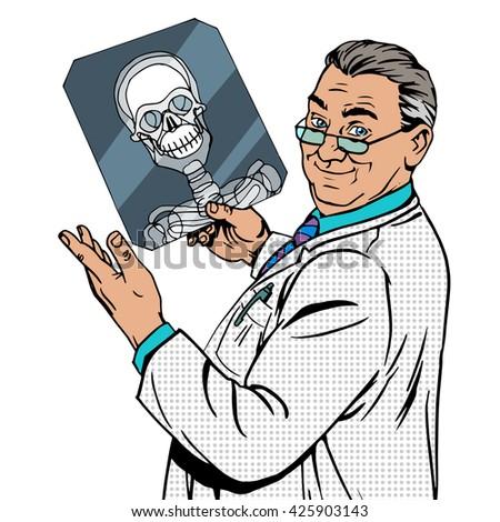 doctor surgeon x-rays skull - stock photo