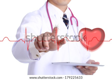 Doctor touch heart beat graph for take care your healthy  - stock photo