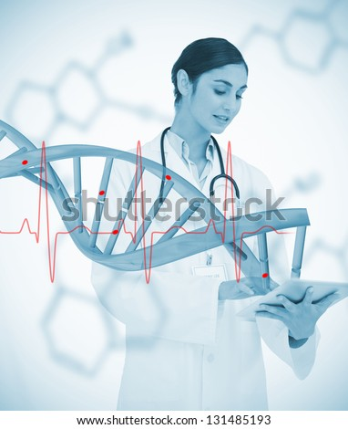 Doctor using tablet pc with graphic dna helix and ECG line on background on chemical formulas - stock photo