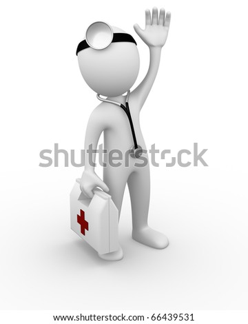 Doctor waving - stock photo