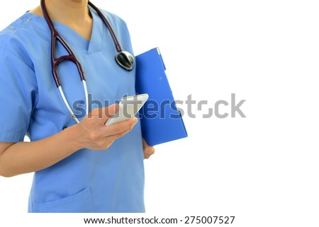 Doctor with a smart phone - stock photo