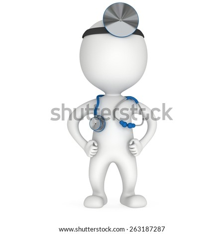Doctor with a stethoscope and mirror on his head. 3d render man isolated on white. Medicine and healthcare concept. - stock photo