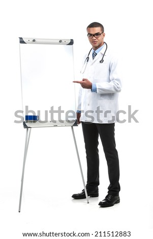 doctor with blank presentation gesturing with hands. young african man standing with white board - stock photo