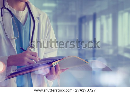 Doctor with files - stock photo
