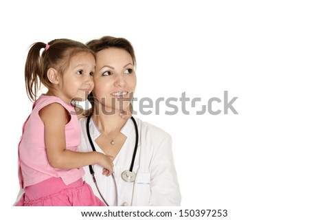 doctor with little girl on a white background - stock photo
