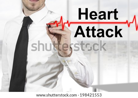 doctor with necktie drawing heartbeat line heart attack - stock photo