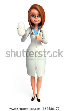 Doctor with pill  - stock photo