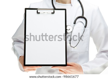 Doctor with stethoscope holding clipboard with blank sheet of paper, you can place your text in copy space; isolated over white background - stock photo