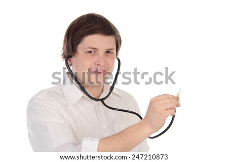 doctor with stothoscope - stock photo