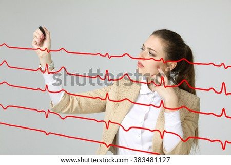 doctor woman and cardiogram lines - stock photo
