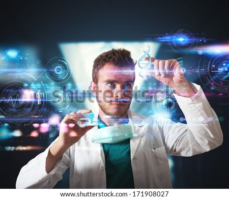 Doctor working with futuristic touch screen interface - stock photo