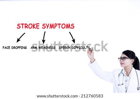 Doctor writes stroke symptoms on whiteboard, isolated on white background - stock photo