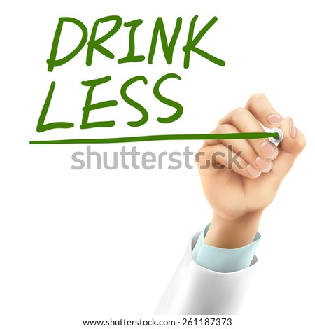doctor writing drink less words in the air - stock photo