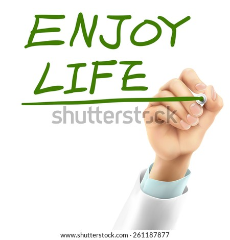doctor writing enjoy life words in the air - stock photo