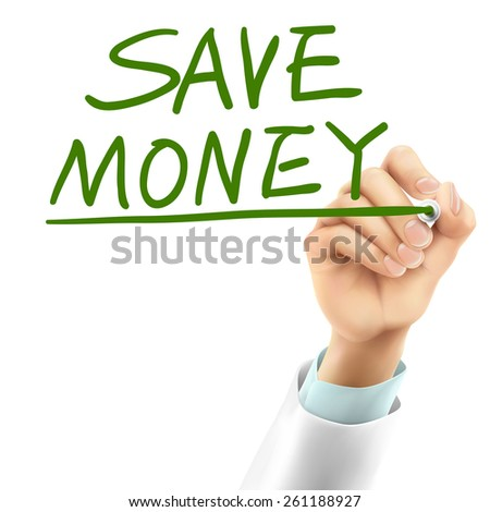 doctor writing save money words in the air - stock photo